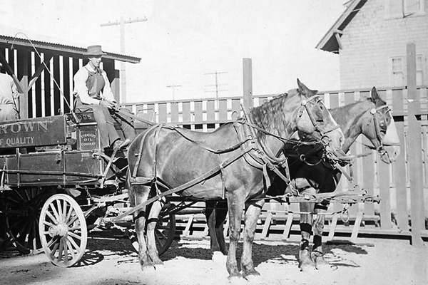 In this 1915 photo, a horse-drawn wagon loaded up at Standard Oil Co.