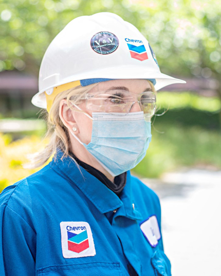 Chevron worker wearing PPE mask
