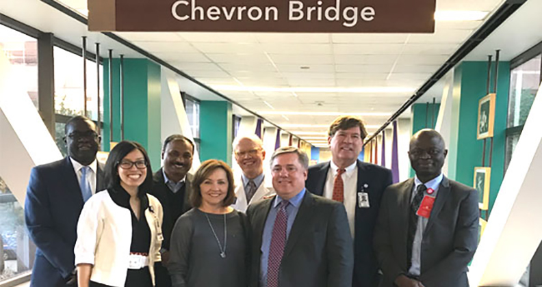 Clay Neff, president of Chevron Africa and Latin America Exploration. Neff and other Chevron delegates toured the facility and saw the Chevron Bridge
